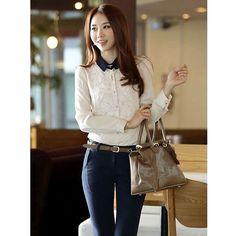 White Contast Color Women Korean Fashion Chiffon Lapel Long Sleeve... via Polyvore
