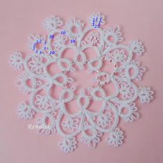 This is so pretty. It will make a lovely tree ornament. Lots of shimmery white beads, or something to mimic droplets of water.   from... Tatting, Tatting, Chiacchierino: frywolitkowy snow