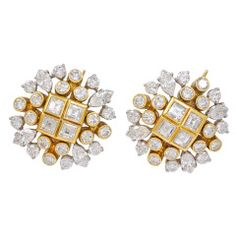 Asscher marquise and round Diamond Cluster Gold Platinum Earrings