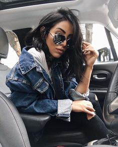 Denim jacket, sunglasses - casual fall outfit, winter outfit, style, outfit inspiration, millennial fashion, street style, boho, vintage, grunge, casual, indie, urban, hipster, minimalist, dresses, tops, blouses, pants, jeans, denim, jewelry, accessories