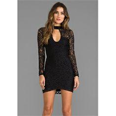 For Love & Lemons New York City Mini Dress in Black