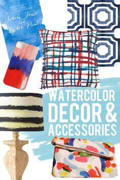 Create a Fun look with these watercolor decor and accessories ideas from thehandmadehome.net!