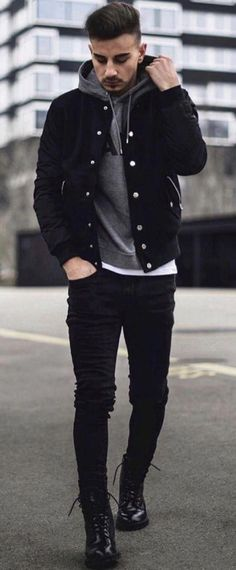 Monochrome fall combo with a black trucker jacket gray hoody white t-shirt black. - Monochrome fall combo with a black trucker jacket gray hoody white t-shirt black slim cut denim black boots. Black Denim Jacket Outfit, Black Outfit Men, Outfit Jeans, Black Hoodie Outfit, Black Jeans Men, Mode Masculine, Herren Outfit, Stylish Mens Outfits, Mode Streetwear