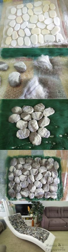 How clever! Rocks made of foam then felted and put together to look like a bed of rocks. Very clever!