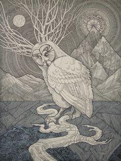 Wise owl #Birds art by Светлана Аркадьева