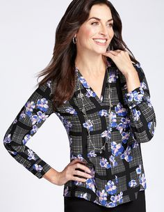 Cleo | Long sleeve periwinkle print pullover blouse with v neckline, pleated shoulder, functional double button cuff, front centre seam, split side hem and pleated centre back detail #CleoFashion #cleo