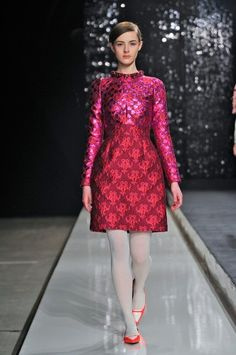 Dress by Honor, fall 2013.  Love the pink & red together.
