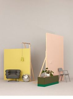 Set the scene with pastel backdrops. // Made in Germany Jonas von der Hude Corporate Design, Retail Design, Display Design, Booth Design, Set Design, Home Goods Wall Decor, Home Decor, Restaurant Design, Design Thinking