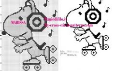cross stitch pattern Snoopy on skates listening to music - free cross stitch patterns simple unique alphabets baby Cross Stitch Music, Cross Stitch For Kids, Cross Stitch Boards, Cross Stitch Designs, Cross Stitch Patterns, Stitch Character, Stitch Cartoon, Cross Stitch Freebies, Snoopy