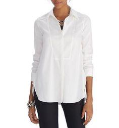 NWT White House Black Market Iconic Starlet Bib Front Collar White Shirt Size 4 #WhiteHouseBlackMarket #ButtonDownShirt #Career