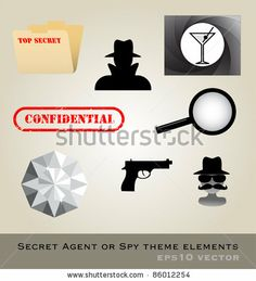 Secret Agent Theme Pack Vector - 86012254 : Shutterstock
