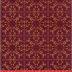 ROYAL LOOK,Burgundy and Red Kismet Ornate Indian Damask Velvet Flocked Wallcovering.