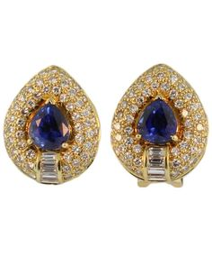 Vintage Yellow Gold Sapphire and Diamond Earrings