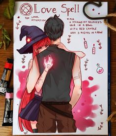 Spellbook - Love Spell by larienne on DeviantArt Anime Drawings Sketches, Cute Drawings, Pretty Art, Cute Art, Arte Monster High, Crayons Pastel, Witch Drawing, Anime Witch, Witch Art