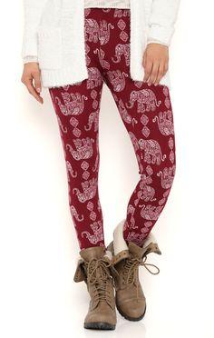 Deb Shops Elephant Print Brushed Leggings $9.60