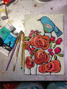 So it started with a new container of ORANGE paint. I was getting wood cut at Lowe's for after-school and had wandere. Painting & Drawing, Watercolor Paintings, Watercolors, Abstract Flowers, Whimsical Art, Bird Art, Flower Art, Folk Art Flowers, Art Techniques