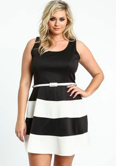 Striped top, red belt, black skrit. City Chic | A passion for ...