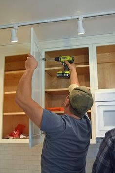 Hanging Kitchen Cabinet Doors with Concealed Euro Hinges - Momplex Vanilla Kitchen | Ana White