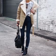 """Wearing sweatshirt by @denhamthejeanmaker ,coat by @zara ,shoes are @topshop_au"""