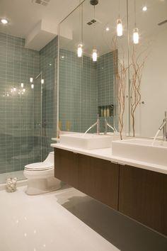 modern bathroom interiors wood vanity ceramic sinks terrazzo floor walk in shower