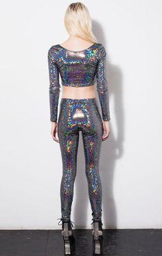Hologram Rainbow Leggings by DEVOWEVO by DEVOWEVO on Etsy, $75.00