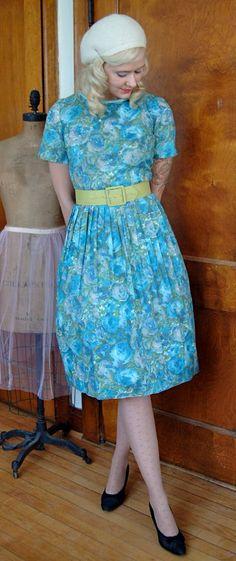 1950s Dress // Blue Floral Water Color // by dethrosevintage, $48.00