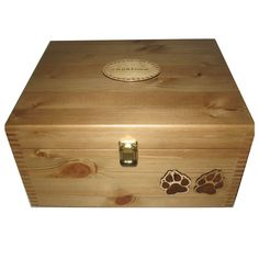 Rustic Pine Pet Box Large with brass clasp and cat paws Baby Girl Gifts, New 808e3c2615