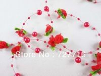10pcs/lot Red Bead Garland With Organza Rose Florets  / Wedding / festival / home decorate pearl Strand flower - Free shipping Pearl Garland, Beaded Garland, Festival Wedding, Party Supplies, Free Shipping, Pearls, Rose, Flowers, Decor