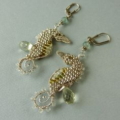 Custom Silver Seahorse Earrings 4 April, 2011  Sterling and fine silver, aquamarines, green tourmalines, prasiolite (green amethyst) briolettes