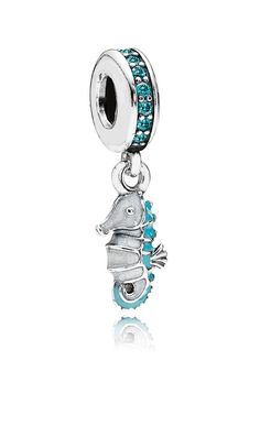 teal + silver seahorse charm for little girls
