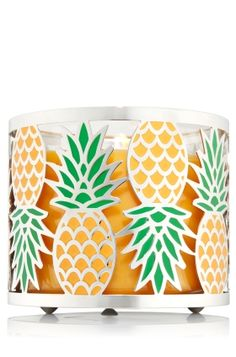 Pineapple - 3-Wick Candle Sleeve - Bath & Body Works - Add a pop of the tropics to your d�cor! Bright enamel pineapples pair perfectly with your favorite 3-Wick Candle for a warm glow at home!