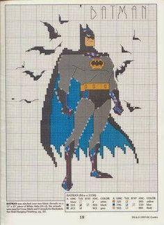 Hobby lavori femminili - ricamo - uncinetto - maglia: schema punto croce batman