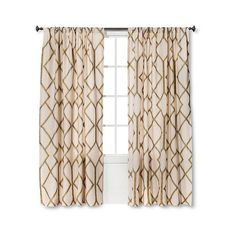 Threshold Metallic Curtain Panel - Gold Linen ($20) ❤ liked on Polyvore featuring home, home decor, window treatments, curtains, gold, gold curtains, linen curtain panels, linen drapery, linen panels and linen drapery panels