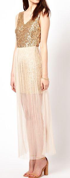 Glitter dress with mesh overlay