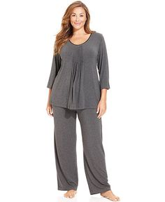 DKNY Plus Size Seven Easy Pieces Top and Long Pyjama Pants – Plus Size Pyjamas & … – mujeres Plus Size Pyjamas, Pijama Plus Size, Plus Size Sleepwear, Plus Size Underwear, Best Pajamas, Pajamas Women, Curvy Outfits, Plus Size Outfits, Curvy Fashion
