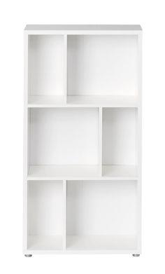 Maze Bogreol - Bogreol i hvid med et interessant, asymmetrisk design. Bogreolen kan sammensættes med andre Maze bogreoler af forskellige højder. Reolen har to hylder, med tre skillehylder