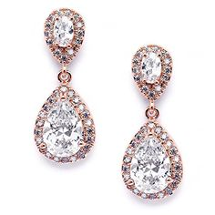 """Mariell Dainty 14K Rose Gold Cubic Zirconia Halo Teardrop Pear-Shaped Dangle Earrings - Bridals & Formals. Top-Selling Dainty Rose Gold CZ Teardrop Dangle Earrings with Pear-Shaped Drops; Measure 1 1/4"""" h; Posts and Comfort Disc Backs. Genuine 14K Rose Gold Plating with the Look of Fine Jewelry. Finest Quality AAAAA Grade Cubic Zirconia for Diamond-like Brilliance. RISK-FREE Purchase; 100% Money-Back if Not Delighted; LIFETIME GUARANTEE. Beautifully Packaged in Luxurious Embossed Mariell…"""