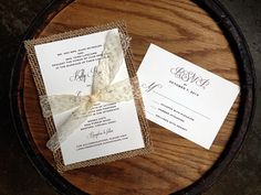 Rustic Elegant Wedding Invitation with Real Burlap & Lace! Design by www.icandothatdes... #rusticwedding #burlap #lace #elegant #classic #barnwedding