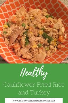 Healthy Cauliflower Fried Rice with Leftover Turkey - a great dinner idea! Family dinner | healthy recipe | what to do with leftover turkey | gluten free dinner idea #dinner #healthyrecipe #leftoverturkey