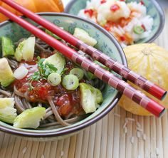 SIMPLE TOSSED SOBA - This is sometimes my go to lunch dish. Buckwheat noodles tossed with familiar flavors. Eat immediately for the crunch of the cabbage, or do as I do, and allow it to sit a bit.  Get this recipe by clicking on the link below: http://ow.ly/vh8t301D857