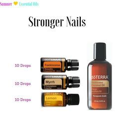 Do you want stronger nails and softer cuticles? Try this recipe: Mix 10 drops of… Lemon Essential Oils, Essential Oil Uses, Mixing Essential Oils, Myrhh Essential Oil, Doterra Lemon Oil, Doterra Fractionated Coconut Oil, Natural Essential Oils, Essential Oil Diffuser, Doterra Frankincense