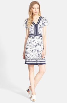 Tory Burch Silk V-Neck A-Line Dress available at #Nordstrom