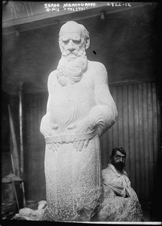 Armenian sculptor Sergei Dmitrievich Merkurov (1881-1952) working on his statue of Leo Tolstoy. (Public domain, Library of Congress)