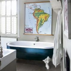 Map in a bathroom