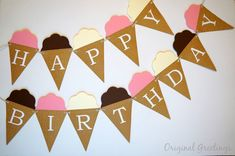 Ice Cream Cone Happy Birthday Banner by OriginalGreetings on Etsy