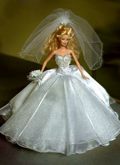 Wedding gown for a 12-inch Barbie doll.