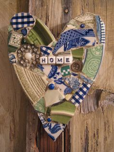 HOME mosaic heart.  Can you find the little house?