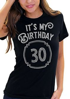 c34df433f903 Its My Birthday with a Framed 30 Womens Rhinestone TShirt Medium Black *  See this great product.Note:It is affiliate link to Amazon.
