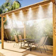 Misty Mate Cool Patio Deluxe Outdoor Misting Kit Brass & Stainless Steel Misting Nozzles i want these for the lake Outdoor Spaces, Outdoor Living, Outdoor Decor, Outdoor Kitchens, Patio Mister, Patio Misting System, Misting Nozzles, Outdoor Projects, Backyard Patio