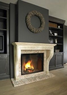 Cozy Corner Fireplace Design Ideas in the Living Room Wall Units With Fireplace, Fireplace Remodel, Fireplace Mantle, Living Room With Fireplace, Fireplace Design, Fireplace Ideas, Game Room Design, Family Room Design, Dark Paint Colors